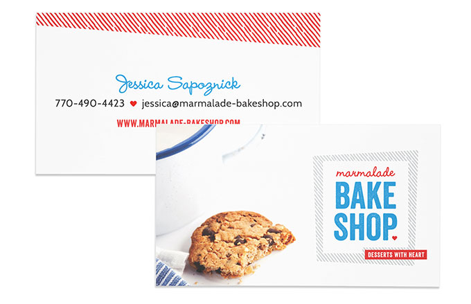Marmalade Bakeshop business card by a little creative