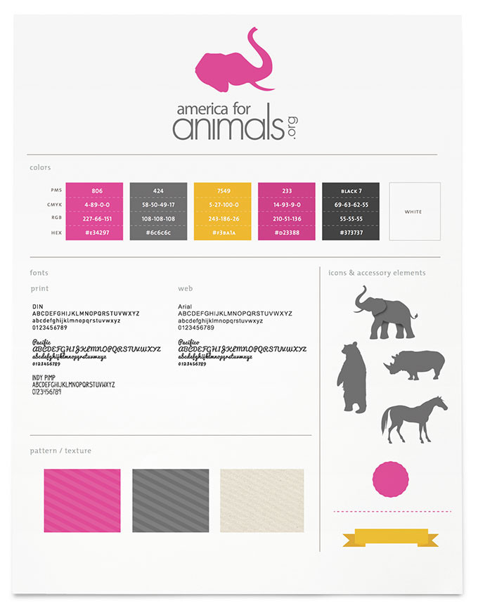 America for Animals brand board by a little creative