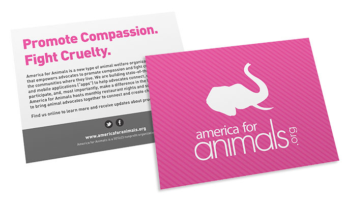 America for Animals postcard by a little creative