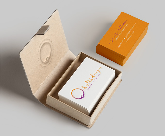 Holliday Health + Wellness biz cards by a little creative