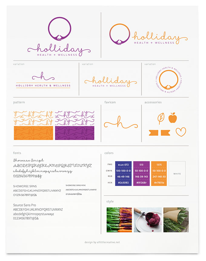 Holliday Health brand board by a littlecreative