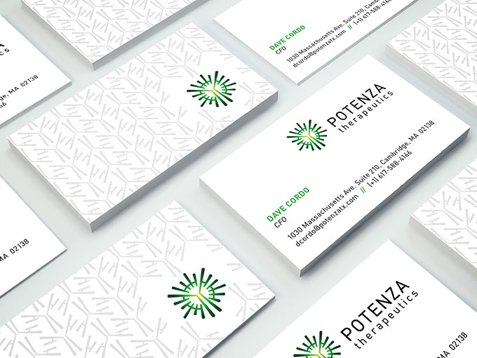 Potenza Therapeutics business card by a little creative