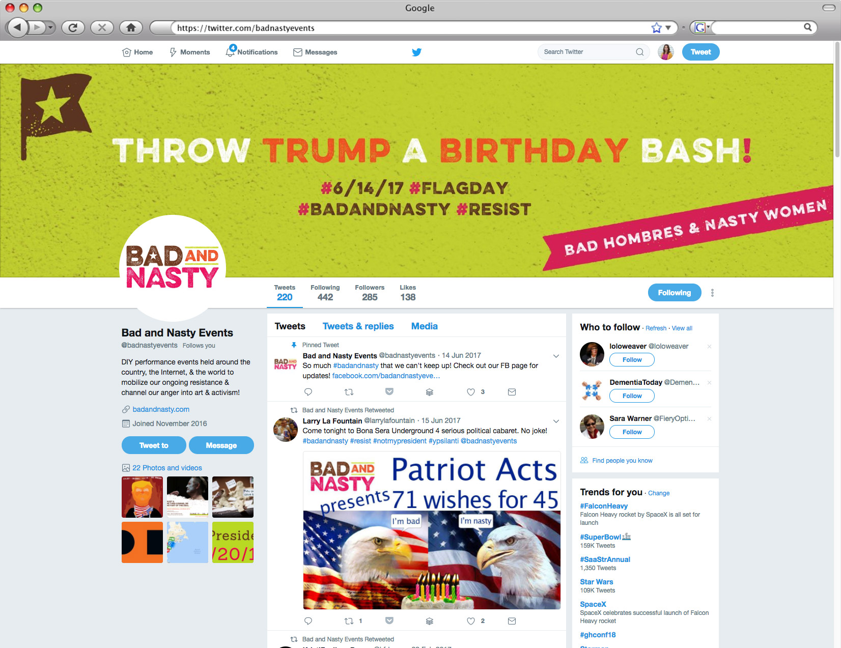 Bad and Nasty Twitter profile // a little creative